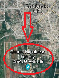 Map that locates Chimei Happiness Factory